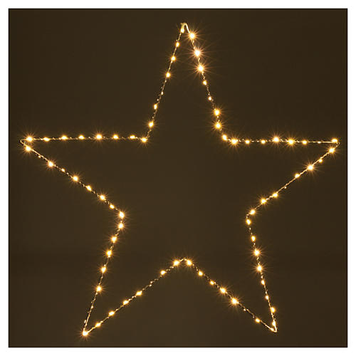Decorazione Natalizia stella luminosa 80 LED gialloINTERNO corrente 60X60 cm 2