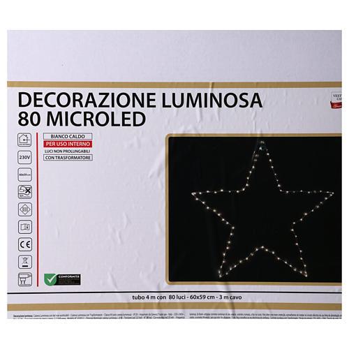 Decorazione Natalizia stella luminosa 80 LED gialloINTERNO corrente 60X60 cm 5