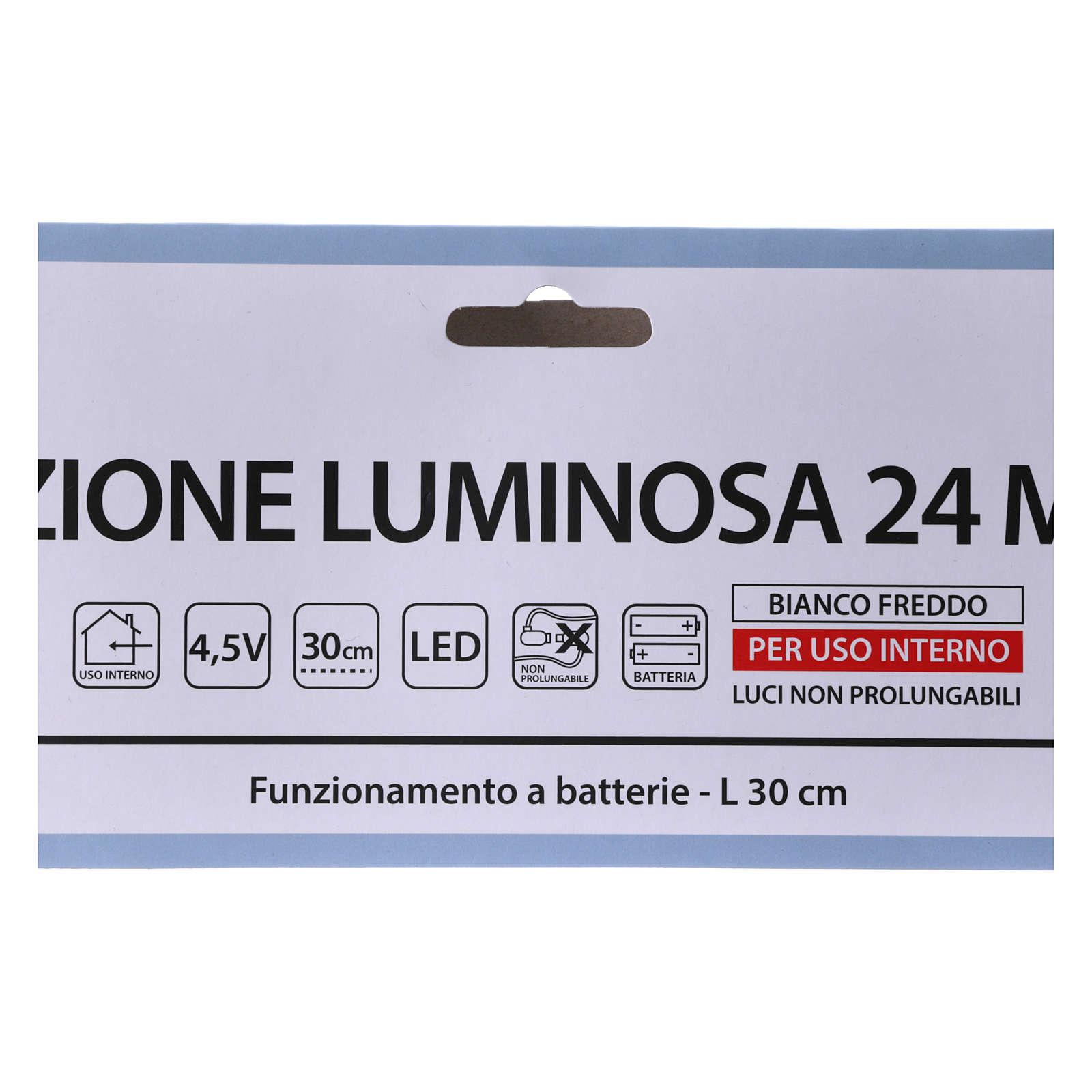 Stella luminosa 24 micro LED bianco freddo INTERNO batteria 3