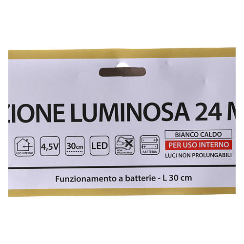 Árbol de Navidad luminoso 24 mini LED blanco cálido INTERIOR batería 4