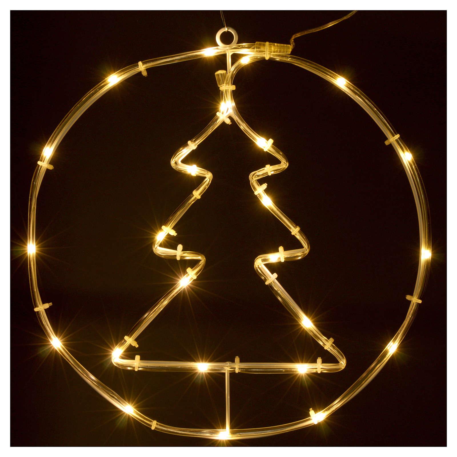 Albero di Natale luminoso 24 micro  LED bianco caldo INTERNO batteria 3