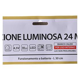 Albero di Natale luminoso 24 micro  LED bianco caldo INTERNO batteria s4