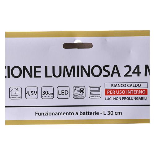 Albero di Natale luminoso 24 micro  LED bianco caldo INTERNO batteria 4