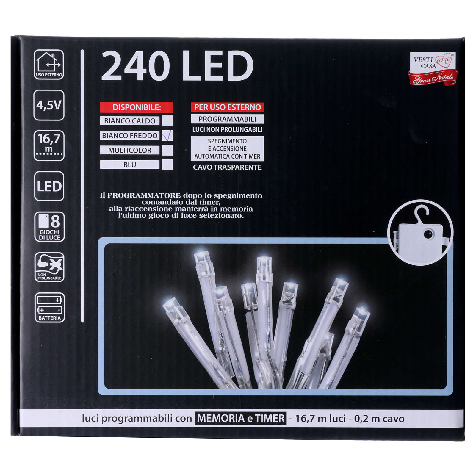 Cadena luces de Navidad 240 LED blanco frío memoria y temporizador EXTERIOR batería 3