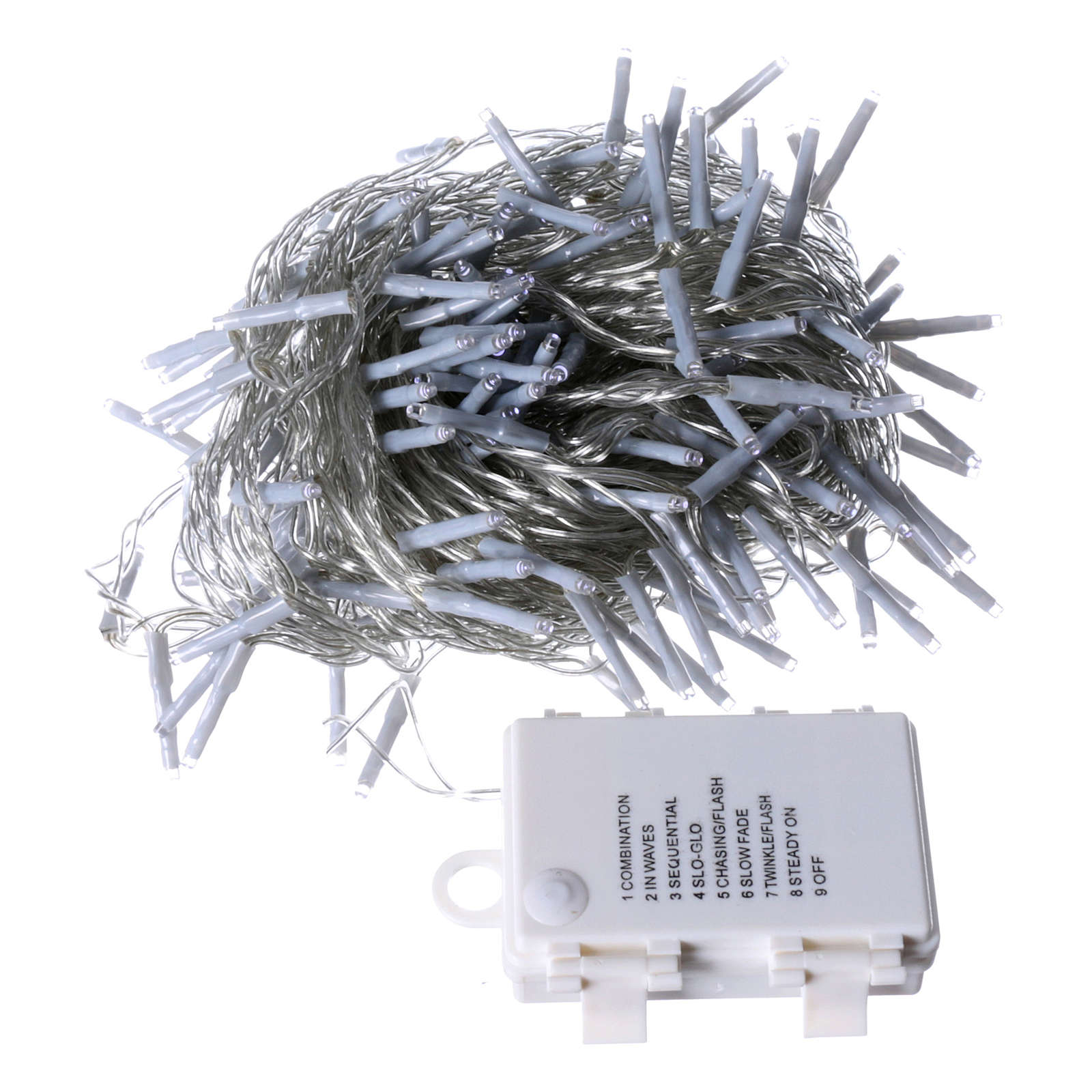 Bright Christmas cable 240 leds cold white with memory and timer external use with batteries 3