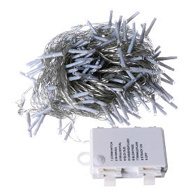 Bright Christmas cable 240 leds cold white with memory and timer external use with batteries s4