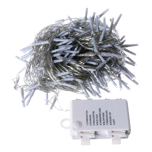 Bright Christmas cable 240 leds cold white with memory and timer external use with batteries 4