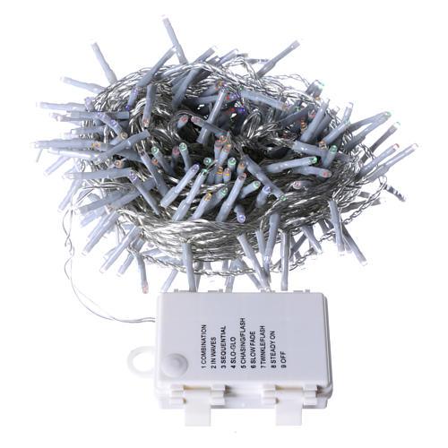 Cadena Navideña luminosa 240 LED multicolor memoria y temporizador EXTERIOR batería 4
