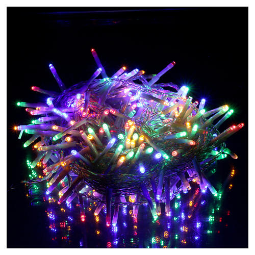 Bright Christmas cable 240 leds multicoloured with memory and timer external use with batteries 2