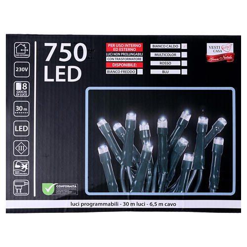 Catena luci Natalizie 750 LED rossa programmabile ESTERNO INTERNO corrente 5
