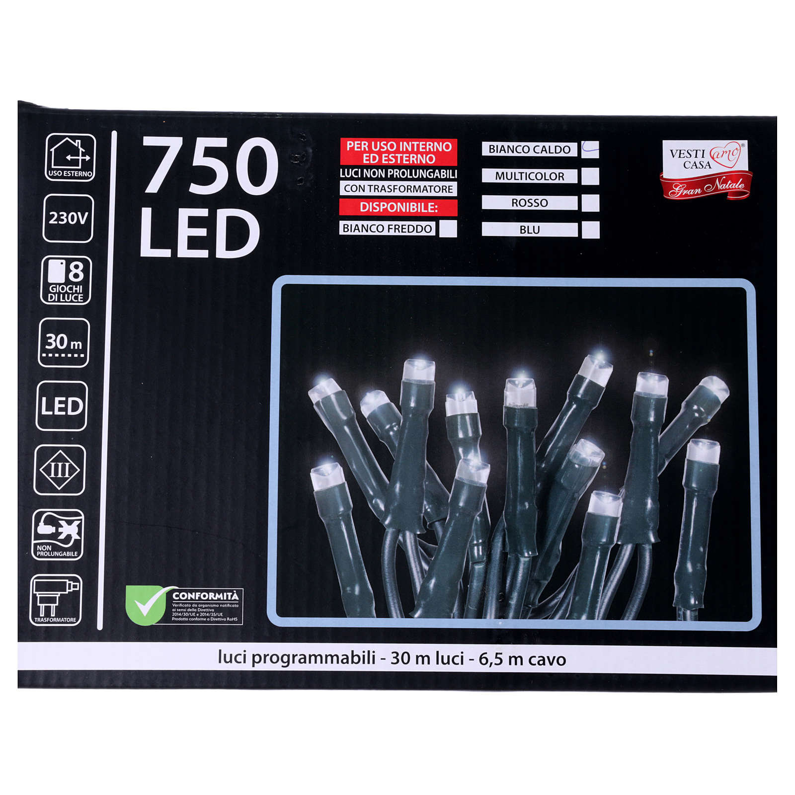 Christmas lights 750 LEDS warm white not programmable internal and external use 3
