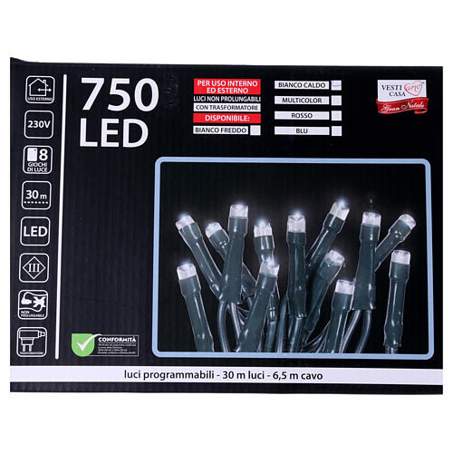 Christmas lights 750 LEDS warm white not programmable internal and external use 5
