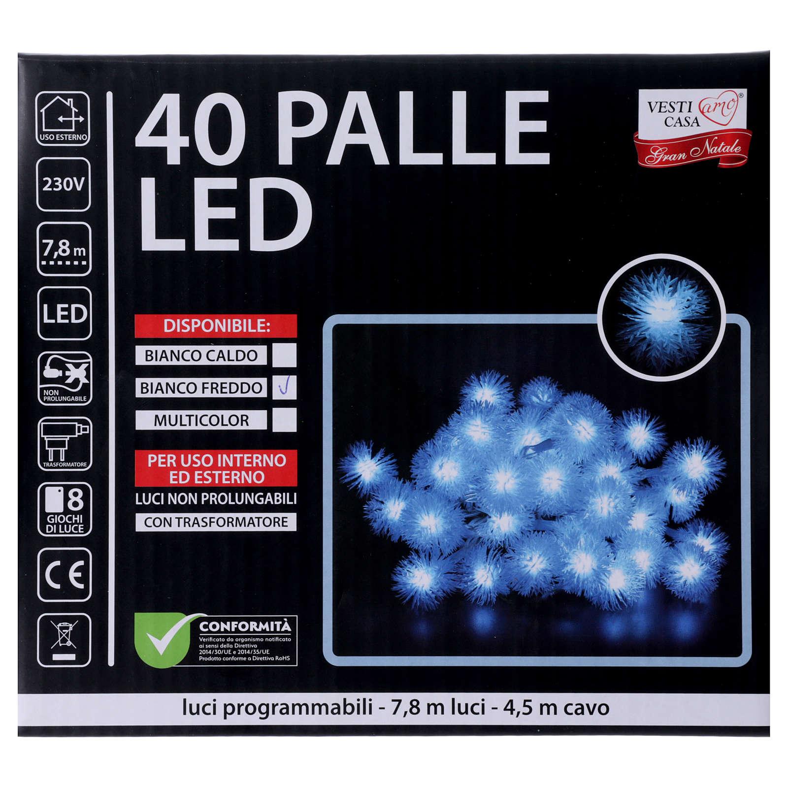 Luci Natalizie fiocco di neve 40 LED  bianco freddo programmabili corrente 3