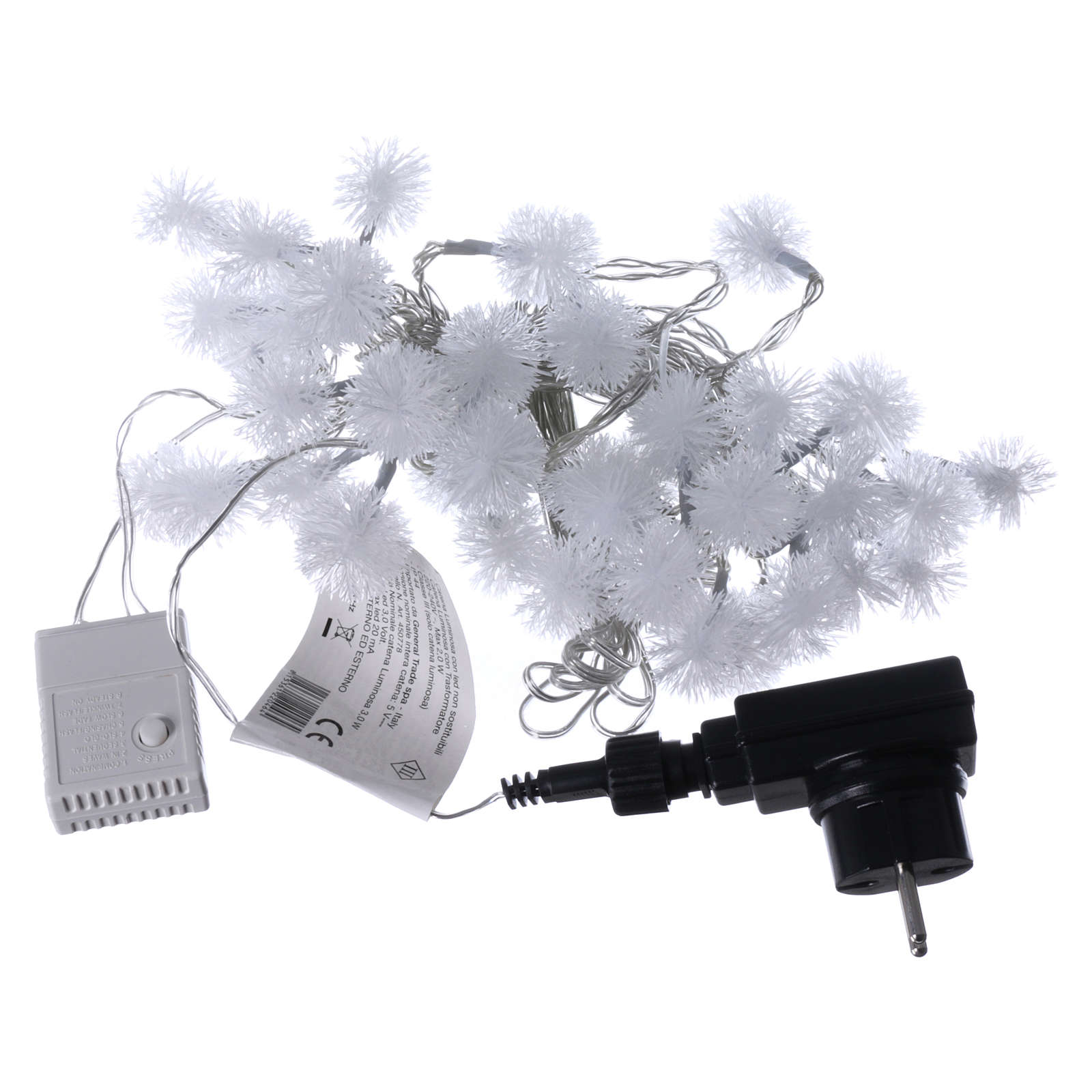 christmas lights snow flake 40 leds cold white programmable with electric power 3