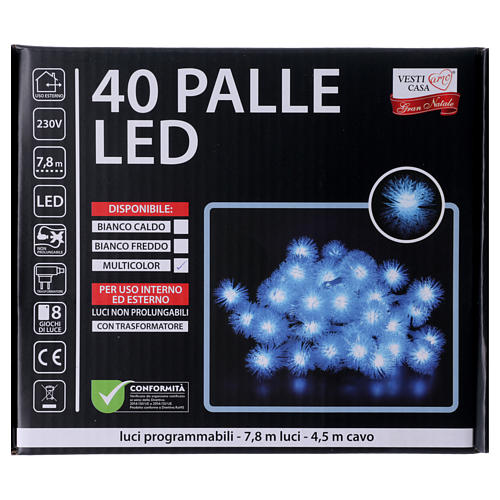 Cadena de Navidad copo de nieve 40 LED multicolor programables corriente 5