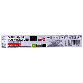 Bright garland 100 micro LEDS cold white for internal use with electric power s6