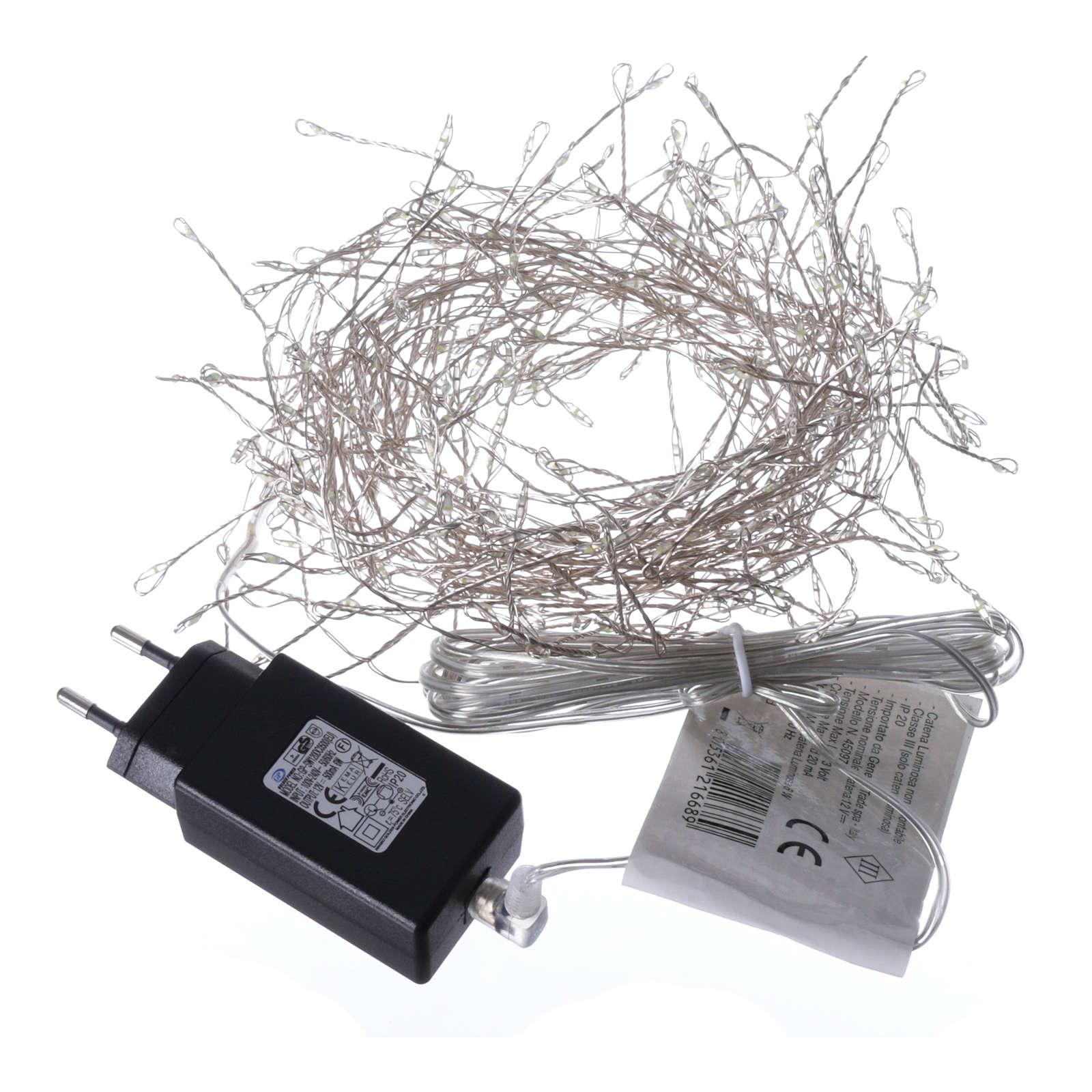 Luci Natalizie ghirlanda 300 micro LED bianco freddo INTERNO corrente 3