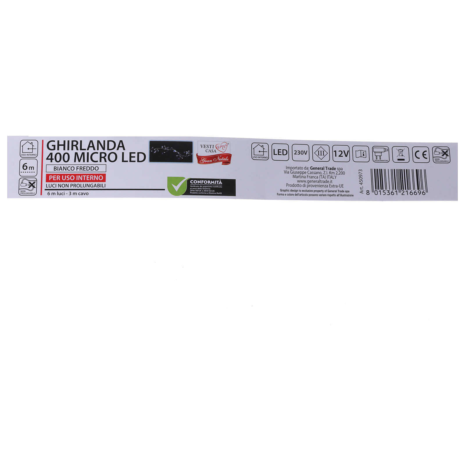 Illuminated garland 400 micro LEDs cold white for internal use electric power 3