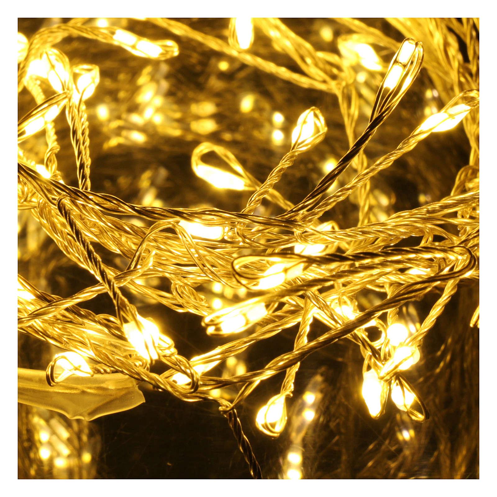 Catena luminosa ghirlanda 100 micro LED bianco caldo INTERNO corrente 3