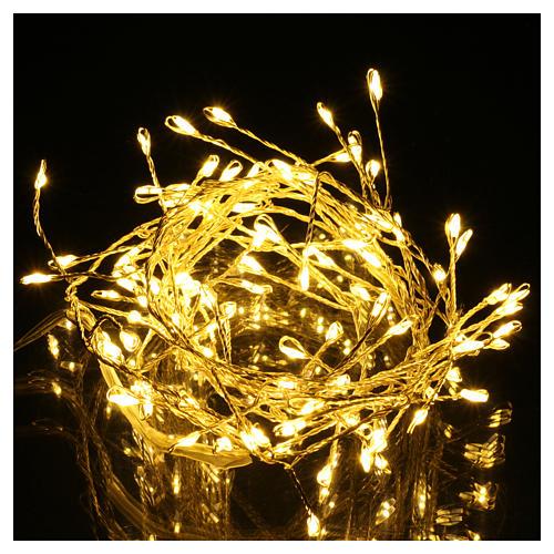 Catena luminosa ghirlanda 100 micro LED bianco caldo INTERNO corrente 2