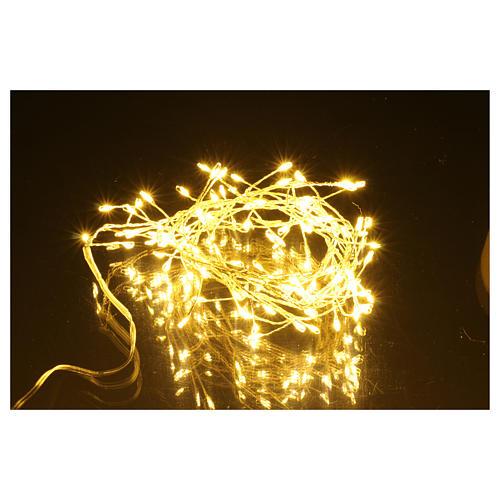 Catena luminosa ghirlanda 100 micro LED bianco caldo INTERNO corrente 5
