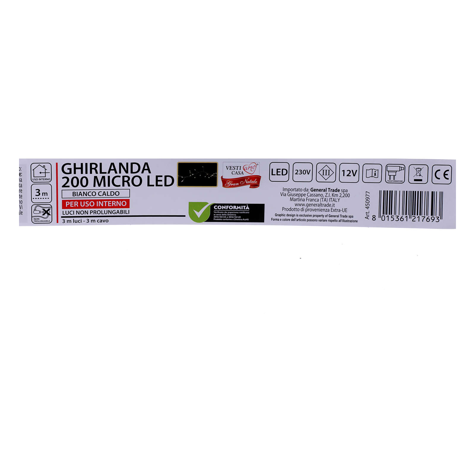 Ghirlanda Natalizia 200 micro LED bianco caldo INTERNO corrente 3