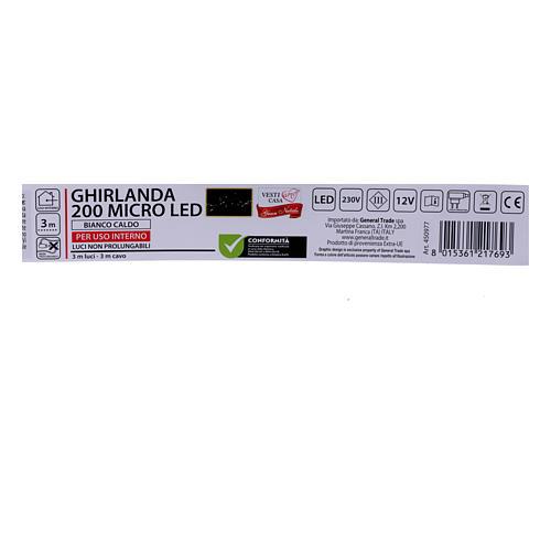 Ghirlanda Natalizia 200 micro LED bianco caldo INTERNO corrente 5