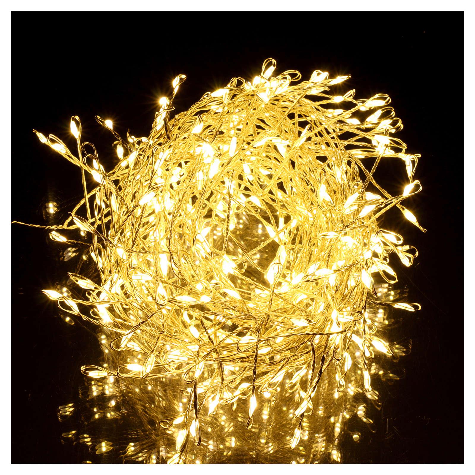 Ghirlanda luminosa 300 micro LED bianco caldo INTERNO corrente 3