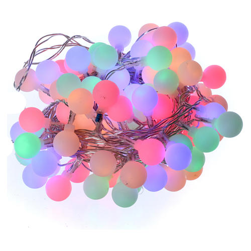 Chaîne lumières sphères mates 100 led multicolores intérieur extérieur 1