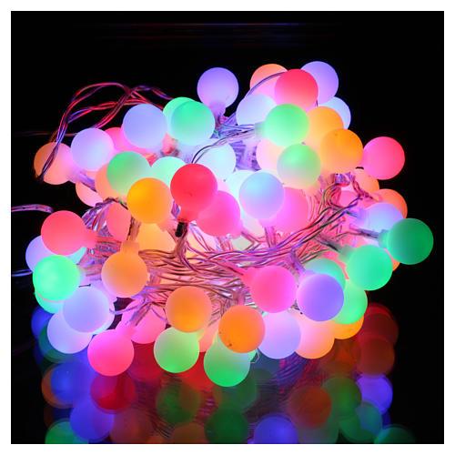 Chaîne lumières sphères mates 100 led multicolores intérieur extérieur 2