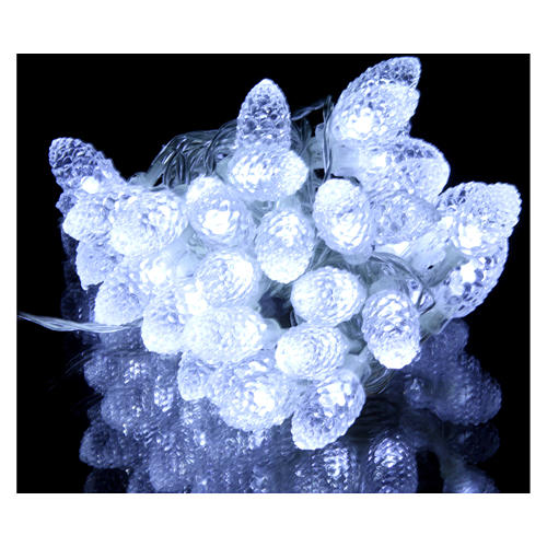 Light cable with pine cones 40 leds ice white internal and external use 2