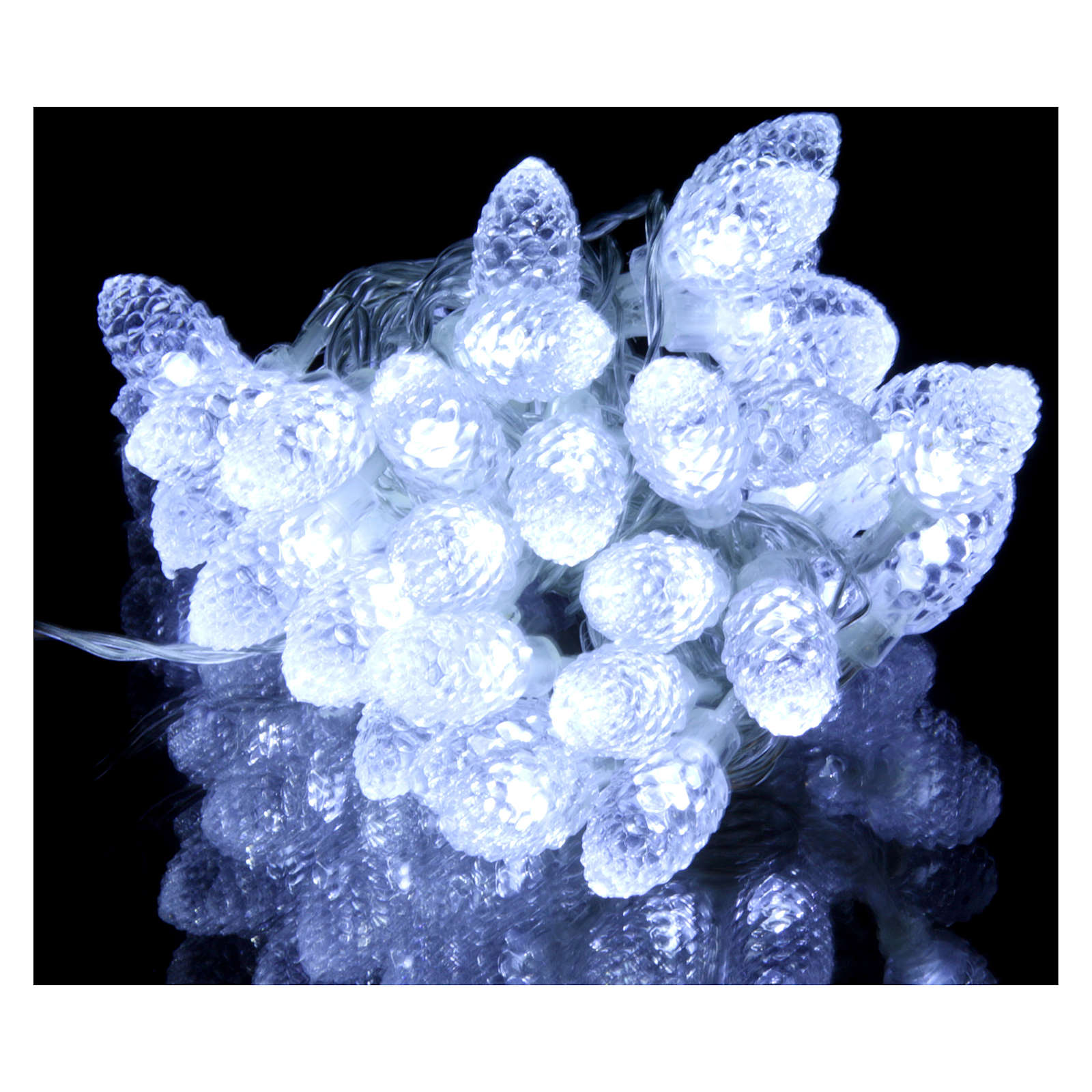 Light cable with pine cones 40 leds ice white internal and external use 3