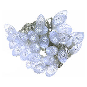 Light cable with pine cones 40 leds ice white internal and external use s1