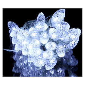 Light cable with pine cones 40 leds ice white internal and external use s2