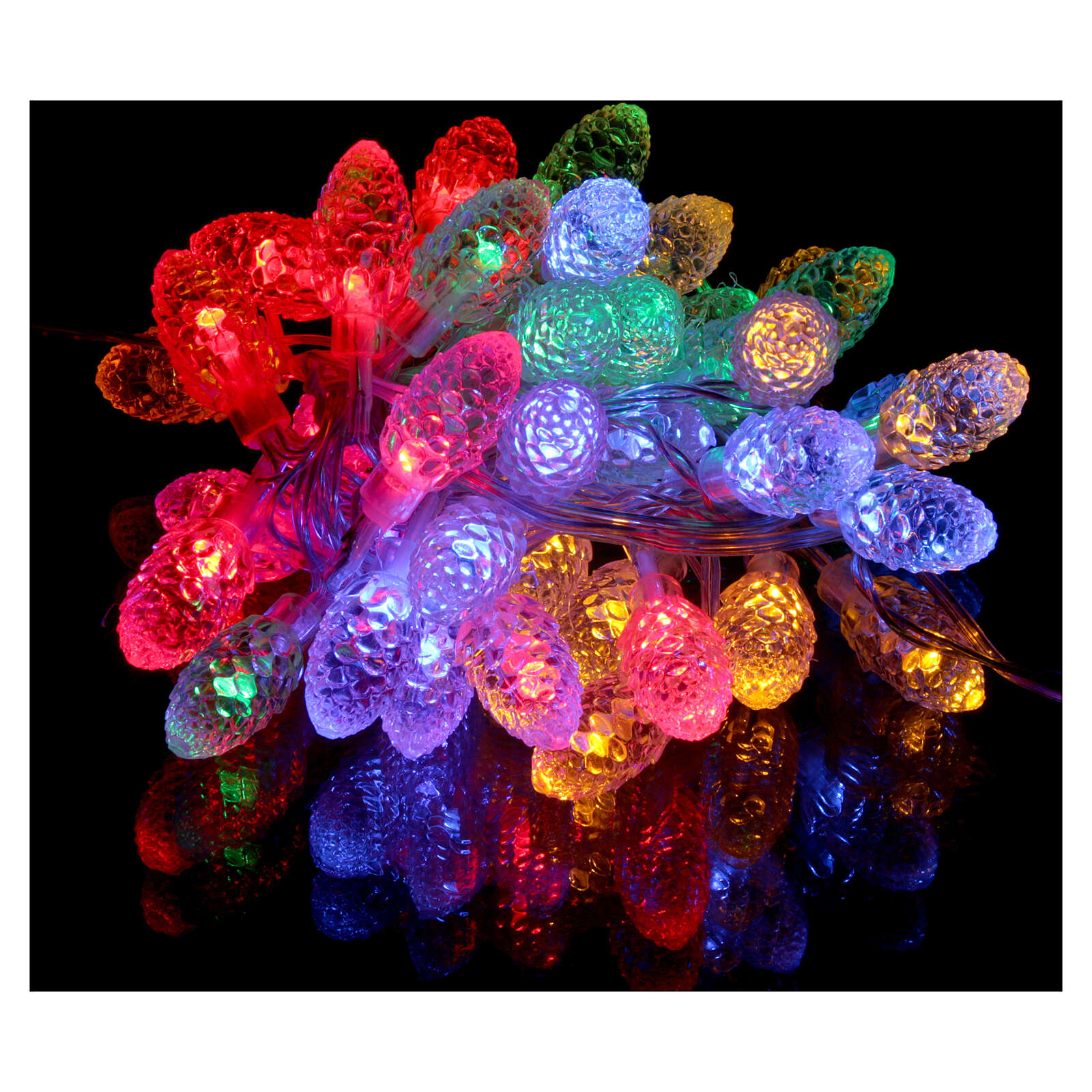 Christmas light pine cones 40 multicoloured leds internal and external use 3