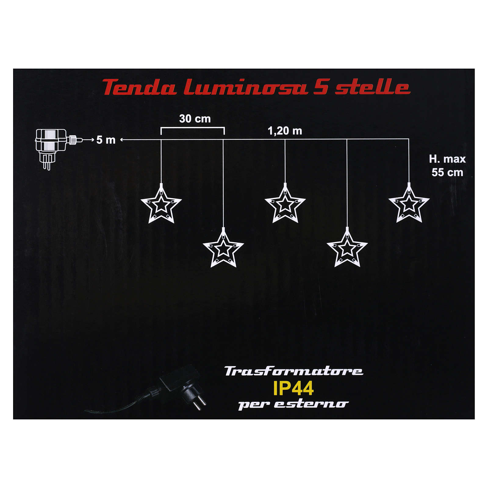 Light curtain 5 stars 50 leds warm white internal and external use 3