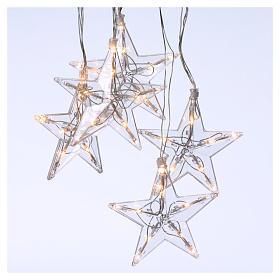 Luzes de Natal: Cortina luzes 5 estrelas Led branco quente interior e exterior
