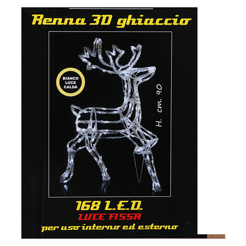 Christmas light illuminated reindeer 168 leds warm white internal and external use 90 cm 6