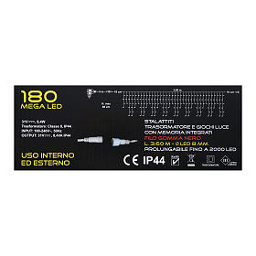 Catena luminosa stalattiti 180 led bianco blu interno esterno s5