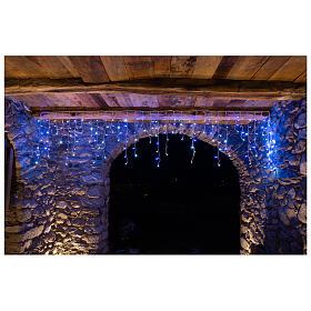 Illuminated chain stalactites 180 leds white and blue internal and external use s1