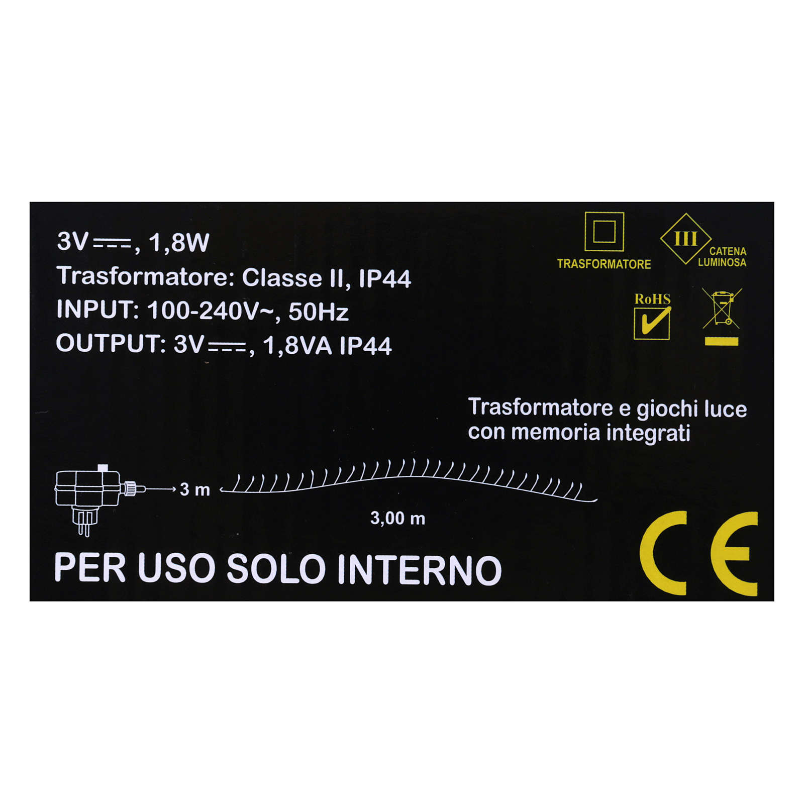 Bare wire light cable 100 warm white nano leds internal use 3