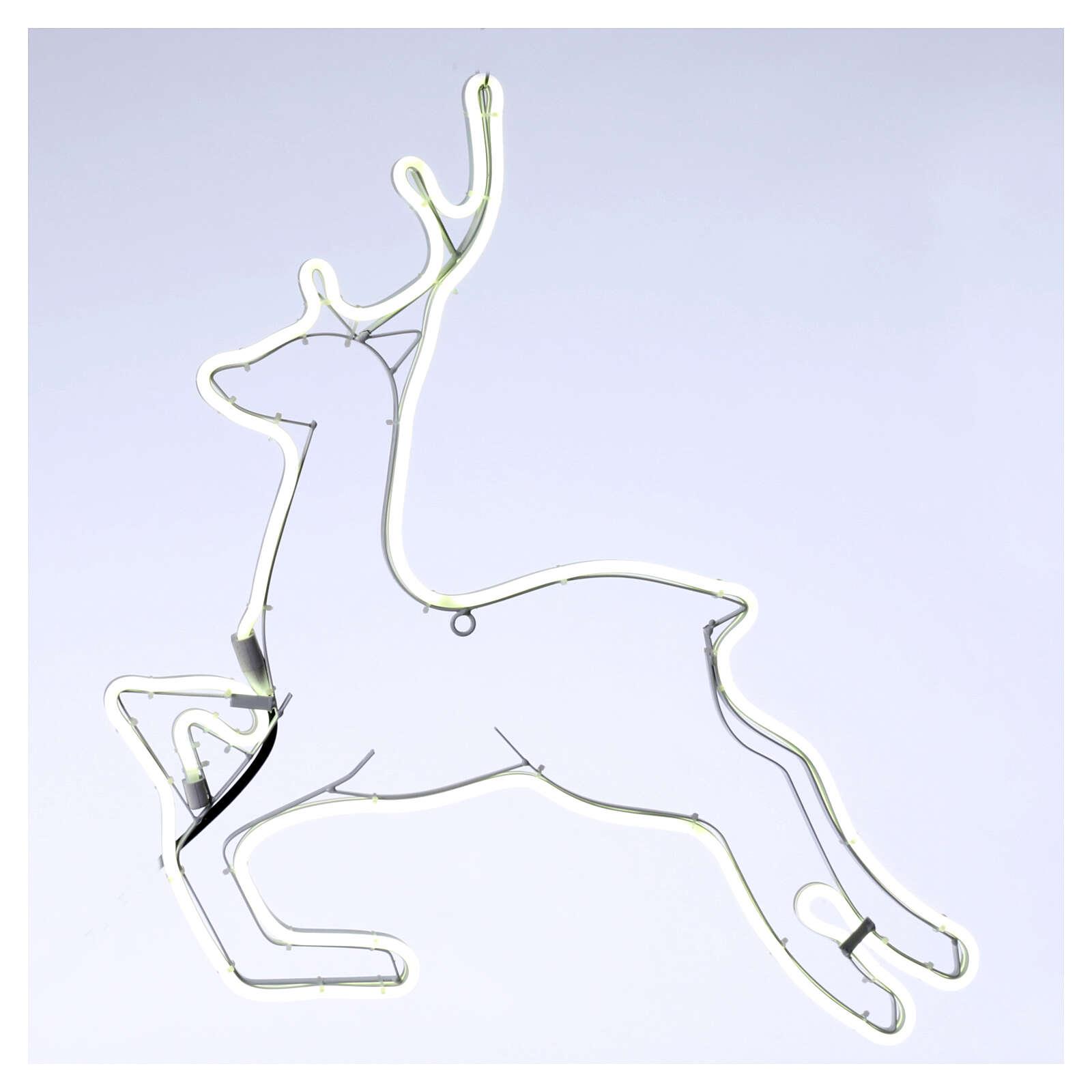 Illuminated reindeer 360 ice white leds 57x57 cm external and internal use 3
