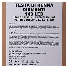 Lumière tête de renne 140 LED h 84 cm usage int/ext blanc chaud s6