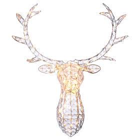 Luce testa di renna 140 LED h. 84 cm uso int est bianco caldo s1