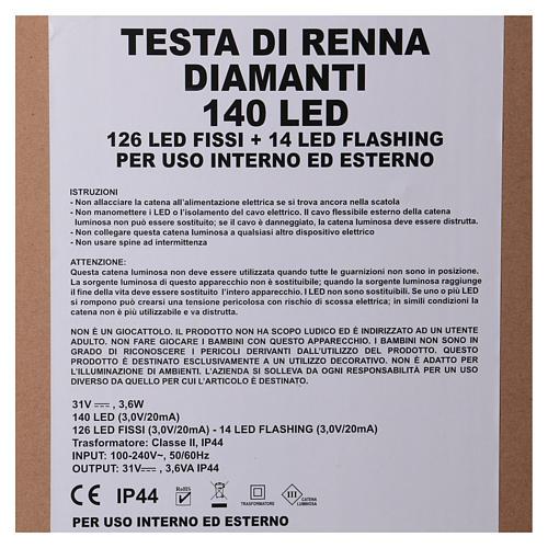 Luce testa di renna 140 LED h. 84 cm uso int est bianco caldo 6