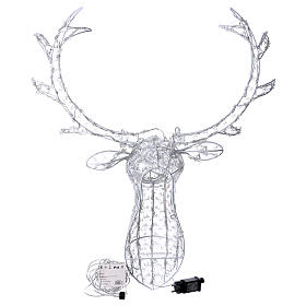 Reindeer Head 140 LED lights ice white height 84 cm indoor outdoor use s4