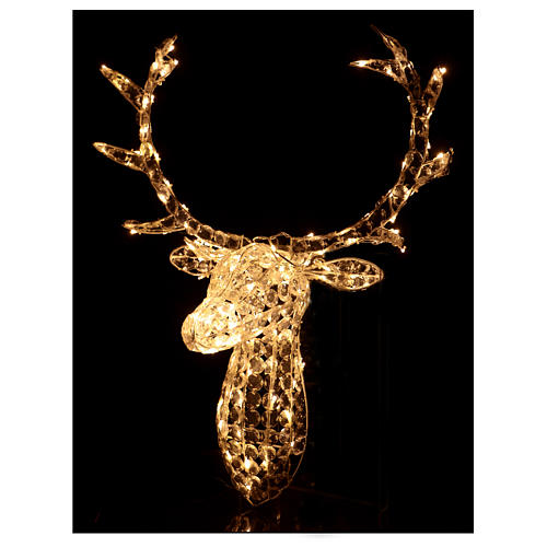 Reindeer Head 140 LED lights ice white height 84 cm indoor outdoor use 2
