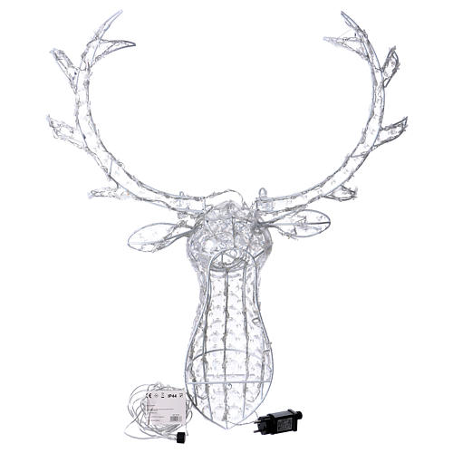 Reindeer Head 140 LED lights ice white height 84 cm indoor outdoor use 4