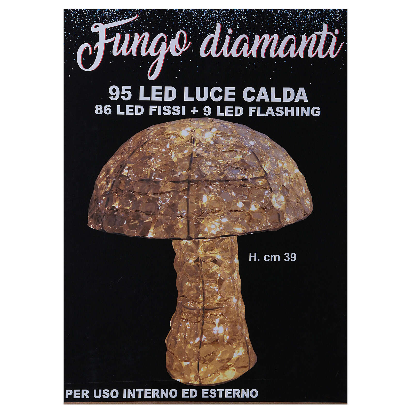 Mushroom Lighted with 95 LED in warm white diamond h 39 cm indoor and outdoor use 3