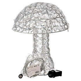 Mushroom Lighted with 95 LED in ice white diamond h 39 cm indoor and outdoor use s3
